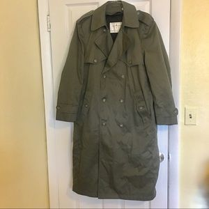 Towne London Fog Olive Green Trench Coat 38 REG